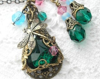 Emerald Rainbow Dragonfly Pendant and Earring Set - Antiqued Brass and Glass