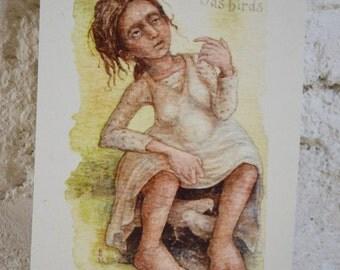 """A Girl Mad As Birds - 7"""" x 5"""" print on cream card"""