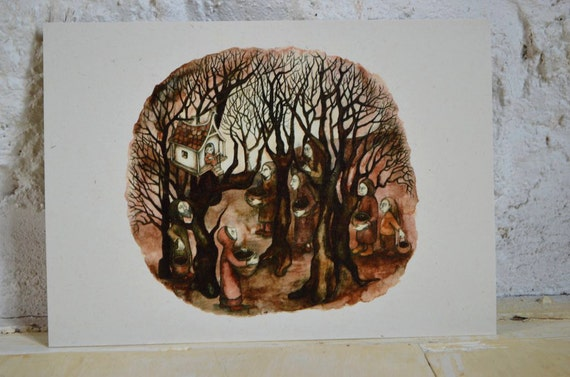 """The Visitors - 7"""" x 5"""" print on cream card"""