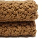 Organic Cotton Washcloths Eco Friendly Crochet Spa Quality Bath Cloths Natural Pecan Brown