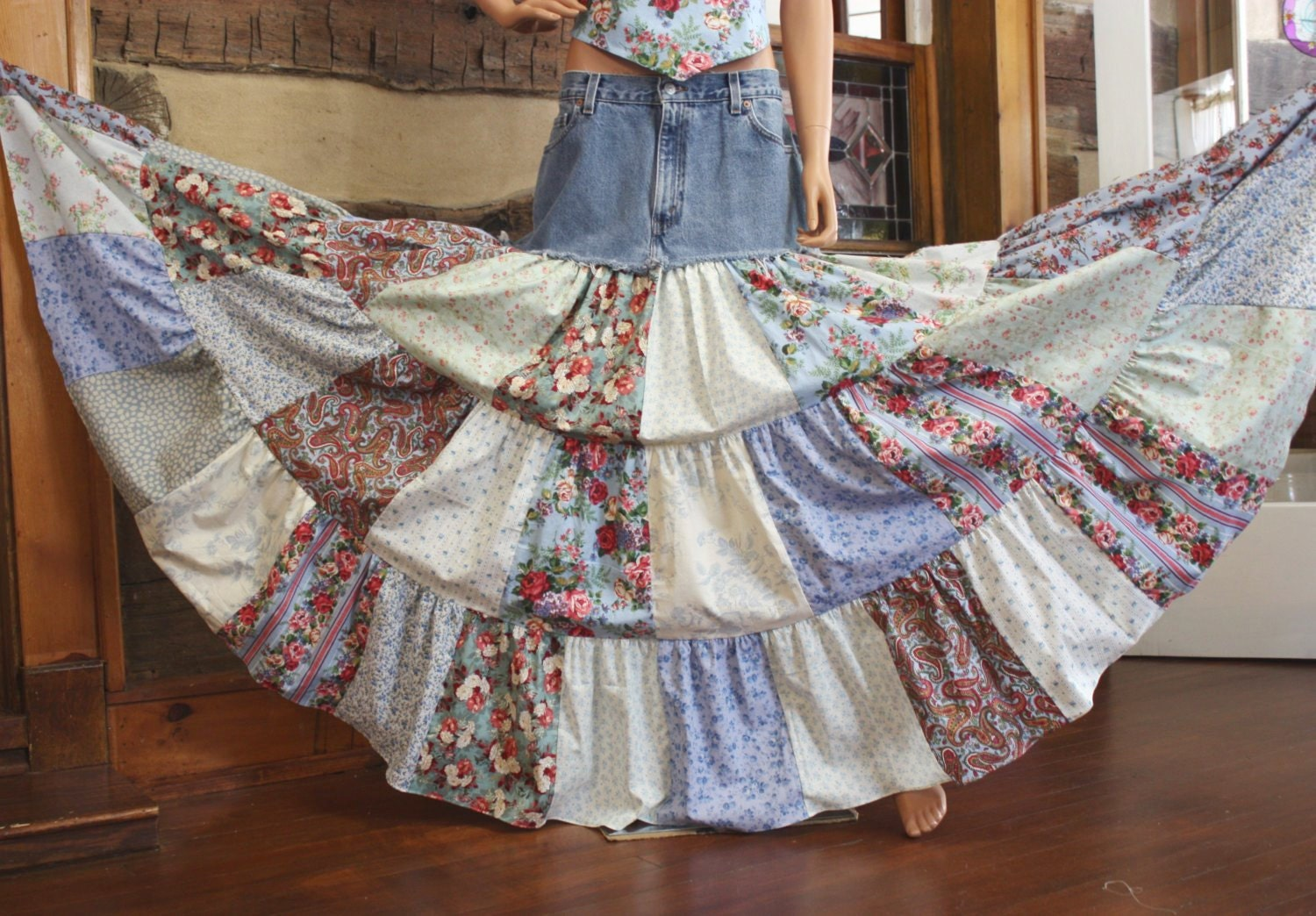 Upcycled Denim Skirt Hippie Patchwork Skirt Long Bohemian