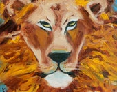 LION - Original Artwork - Oil Painting - Canvas Board - Narnia - Orange, Yellow, Brown - Home Decor - Living Room - 12 x 12 - Honeyscolors