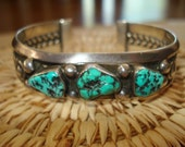 Vintage Native American Sterling Cuff Bracelet with Turquoise Nuggets, Navajo,1970s