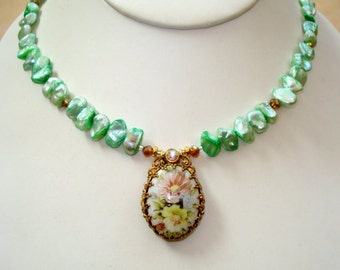 Blue-Green Keshi Pearls with Porcelain Glass Cameo Flower Necklace