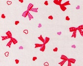DESTASH - One Yard - Cosmo Textile - Glitter Bows and Hearts on White -  Pink, White, Polka Dot, Stripe, Lolita - Japanese Imported Fabric