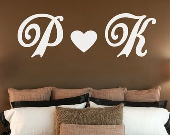 Lover's Initials Wall Decal - Monogram Wall Decal - Large Personalized Initials Decal - Monogram Wall Decal - Just Married Decal - WD1046
