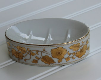 Porcelain Soap Dish - Gold Painted Flowers - Unused - White Gold - Japan