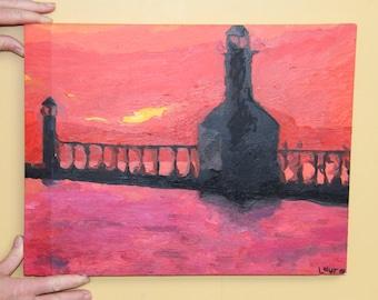 Orange Lighthouse Sunset - Original Oil Painting