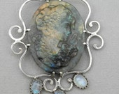 Carved Labradorite Cameo and Moonstone Pendant