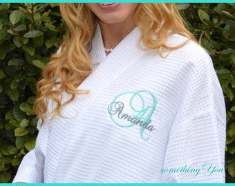 Bridesmaid Robes Personalized with Initial and Name - Bridesmaids Robe Wrap Style Waffle Weave Robes Wedding Day White Aqua Bridesmaid Gift
