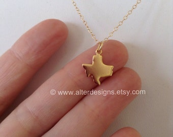 Texas State Necklace, Gold Texas Necklace, Silver Texas State Necklace, State of Texas Necklace, UT LongHorns, Best Friends Long Distance