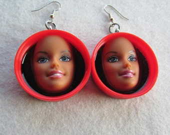 Red Barbie face earrings - upcycled bottle caps
