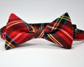 Boy's Bow Tie - Stewart Plaid Bowtie - Christmas Bow Tie - Red and Green Plaid Tie - Baby - Toddler - Teen - Boy