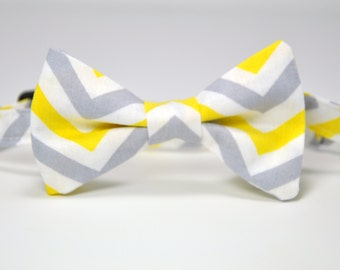 Yellow and Gray and White Chevron Boy's Bow Tie