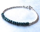 Emerald Bracelet Emerald Sapphire Bracelet Karen Hill Silver Bracelet May Birthstone Bracelet Gemstone Bracelet Beadwork Bracelet