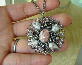 FREE SHIPPING Vintage Sandstone Silver Tone Necklace Pendant