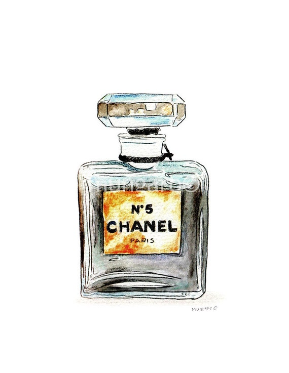 Watercolor tea towel OR watercolor print of vintage perfume bottle Chanel, Chantilly, Dior, or Shalimar painting by Marley Ungaro