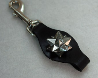 Leather Pocket Watch Fob with nickle Pulsar Star
