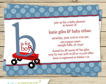 Red Wagon Baby Shower Invitation, Radio Flyer Shower Invitation, Wagon Baby shower Invite, Printable Wagon Invitation, Blue Red