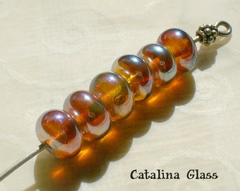 Glass Bead Handmade Lampwork  SRA  by Catalina Glass  6 Clio Opal Peach Rounds