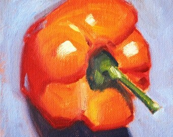 Orange Pepper Still Life Oil Painting, Original 6x6 Canvas, Small Vegetable, Blue Kitchen Art, Square Wall Decor, Minimalist Produce, Vegan