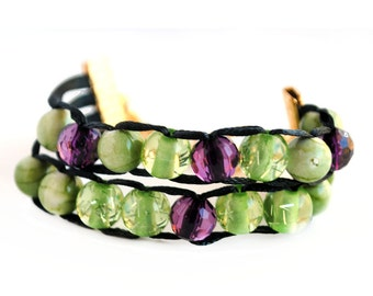 Purple and Green with Silver Clasp - Ablet Knitting Abacus - Row Counting Bracelet