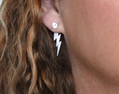 Lightning Bolt Earring Studs With CZ - Exclusive Design By Theresa Mink of Classic Designs