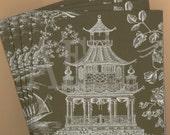 PN102 Set of 4 Paper Napkins by Caspari ~ 5x5 or 6.5 x 6.5 Chinoiserie Toile Pagoda - Idyllic Asian Scene Birds Maple Tree Musician Ship