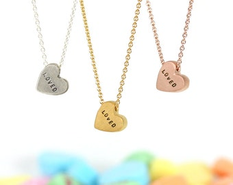 conversation heart necklace - LOVED