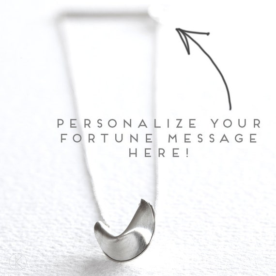 personalize your fortune - fortune cookie necklace with fortune message at clasp
