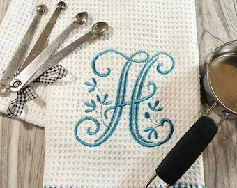 Monogrammed Kitchen Towel, Teal Kitchen Towel