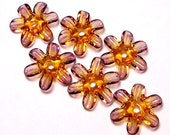 Lampwork  Glass Beads - Fairy Blossoms flower disks in amber and amethyst