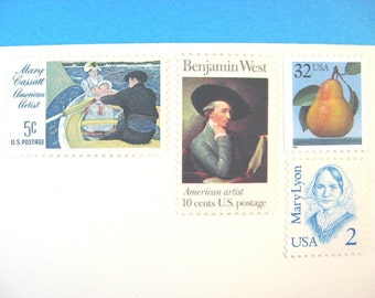 Vintage Postage Stamps Unused, Cassatt and West Paintings, Pear, Mail 10 Letters or Cards, 49 cents postage stamps