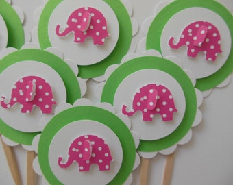 Elephant Cupcake Toppers - Green and White with Pink Polka Dot Elephants - Girl Birthday Decorations - Girl Baby Showers
