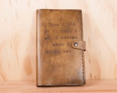Personalized Leather Notebook - Moleskine Cover in the Typeset Pattern with Custom Inscription - Antique Brown