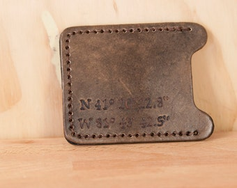 Money Clip and Card Case - Personalized Money Clip - Small Wallet - Slim Wallet - Handmade Leather -  Find Me Here pattern with coordinates