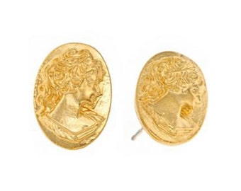 ON SALE 14k yellow gold plate cameo stud earrings. Romantic and Victorian. Great for Valentine's Day and gifting your sweetie. Hand cast