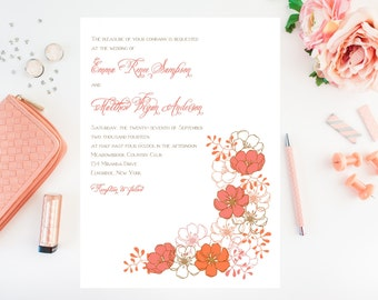 Coral Wedding Invitations - Flower Wedding Invitation