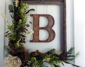 Newlywed Gift, Housewarming Gift, Wedding Gift Modern Farmhouse, Rustic Barnwood Floral Monogram Wreath-Burlap Roses Neutral Wedding Decor