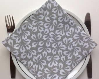 Grey White Dinner Napkins Cloth Napkins Eco Friendly 100% Cotton Dinner Napkins Hostess Gifts - set of 4