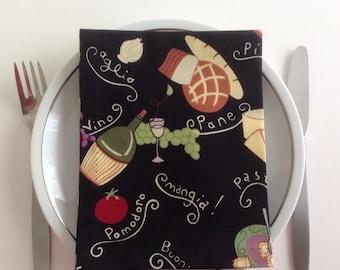Pasta Dinner Napkins Cloth Napkins Eco Friendly 100% Cotton Napkins - set of 4