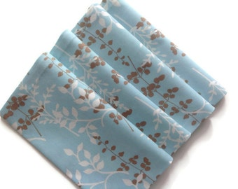 Dinner Napkins Cloth Napkins Eco Friendly 100% Cotton Napkins - set of 4 - Light Blue White Taupe