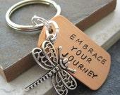 Embrace Your Journey Dragonfly Keychain, dragonfly charm, inspirational, motivation, transformation, encouragement, power phrase keychain