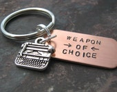 TYPEWRITER Weapon of Choice Keychain, writer's gift, author gift, gift for writer, novelist gift, optional initial disc, blogger gift