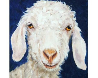 Angora Goat Art Farm Animal Art Print, Painted by Dottie Dracos