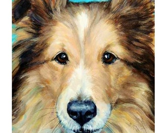 Shetland Sheep Dog Art Prinf of Original Painting by Dottie Dracos, Sheltie portrait. Various Sizes
