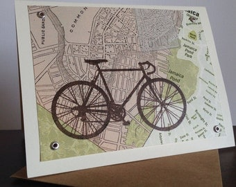Boston Map and Bike - 6-Pack Screen-Printed Greeting Cards