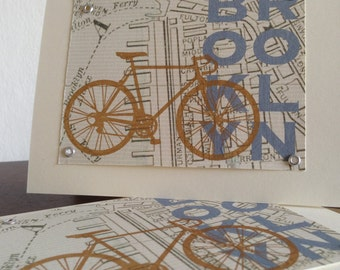 Brooklyn Map and Bike - 6-Pack Screen-Printed Greeting Cards