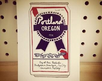 PBR Can / Portland, Oregon Themed Postcard - set of 3