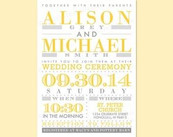 Custom Modern Retro Wedding Invitation Invite / RSVP Printable Digital Design Set - Typography / Old Fashioned / Lines & Dots